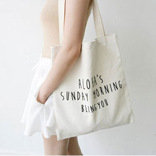 Cotton Canvas Eco Reusable Shopping Shoulder Bag Tote Letter Package Folding bags handbags  Shopping Bags 35*40