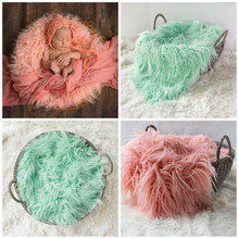 Newborn wool blanket baby photo props baby basket stuffer curly wool layer blanket baby photography props studio backdrop 50*60