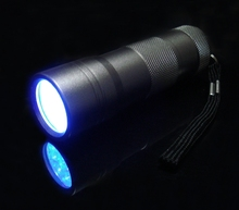 Multi-Use Mini Black 12 LED UV Ultra Violet Mini Lamp Torch 2 Modes Flashlight Light Aluminum Alloy Penlight Lanterna