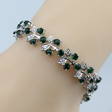 925 Sterling Silver Now Style Flower Green Created Emerald Bracelet Health Fashion  Jewelry For Women Free Jewelry Box SL130