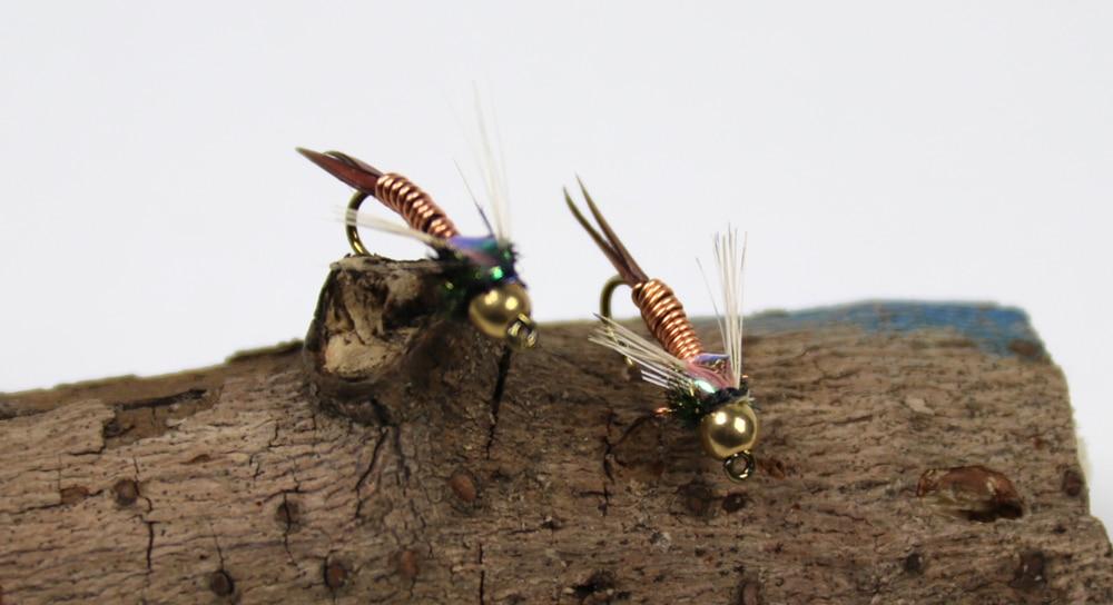 6//12Pcs Nymph Copper John Fly Brass Head Nymph Stone Fly Fishing Bait Size #12