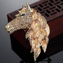 Fashon Men Brown Enamel Horse Brooches Pins Collares Austrian Crystal Pin Brooch And Hijab Accessories Perfect Animal Brooch