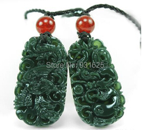 Wonderful Carving Pairs Real Green HeTian Natural Carved Dragon Phoenix Pendants Lucky Amulet Pendant fashion Jewelry