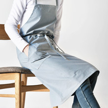 Blue Green Gray Long Cotton Apron Barista Bistro Chef Restaurant Waiter Waitress Baker Catering Uniform Florist Work Wear K66(China)