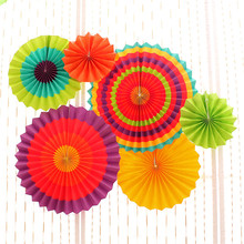 6pcs/set Tissue Paper Fan Craft Party Event Decoration Hanging Tissue Paper Flower Fans Favor Outdoor Wedding Party suppliers