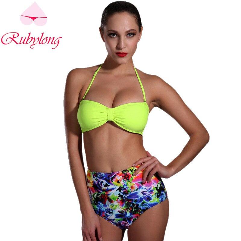 Rubylong High Waist Yellow Bikini Swimwear Women Sexy Halter Padded Push Up  Swimsuit Bikini Set Beachwear Bathing Suit<br><br>Aliexpress