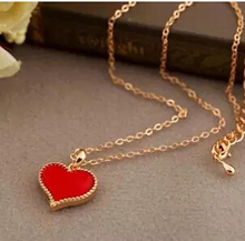 N297 (Black White Red) tri-color peach heart love Gossip Girl Serena same paragraph clavicle chain necklace