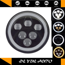 "LED driving lights 7 inch round with hi lo beam and ring 7"" led head lamps for mercedes benz G500 G550 6000k-7000k 12v 60w(China)"
