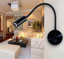 3w LED Creative Modern Bedroom Lamp Bedside Hotel Room Reading Lights Hose With Switch LED Wall Lamp H26