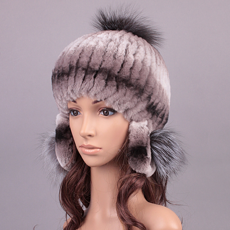 Fur Hats Winter Knitted Rex Rabbit Fur Fluffy Ball Design Hat Girls Casual Caps Beanie Women New 2017 Russian Hat  For WomenОдежда и ак�е��уары<br><br><br>Aliexpress