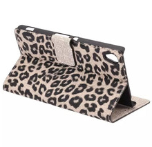 Slim Luxury Leopard Grain Horizontal Flip Magnetic Leather Case with Card Slots & Holder For Sony Xperia Z3 plus Z4 Case Covers