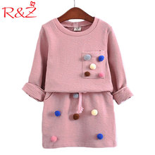 R&Z 2017 Girls Winter Clothing Set Long Sleeve Shirt with Ball with Pencil Skirt Pink Blue Color Fashion Clothes Set Kids Childr(China)