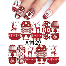 1Sheet Christmas Design Red Color Nail Art Sticker DIY Full Wraps Watermark Nail Water Transfer Stickers BEA1129(China)