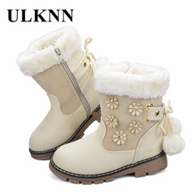 ULKNN Girls Boots Shoes Kids Winter Snow Boots Warm For Children Shoes Ankle Plush Round Toe Rubber Flowers Pink Black Beige(China)
