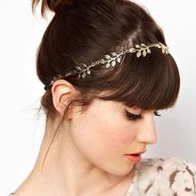 Women's Golden/Slivery Plant Leaves Hair Bands Elastic Hair Accessories cabelo noiva tiara menina Fashion Gift