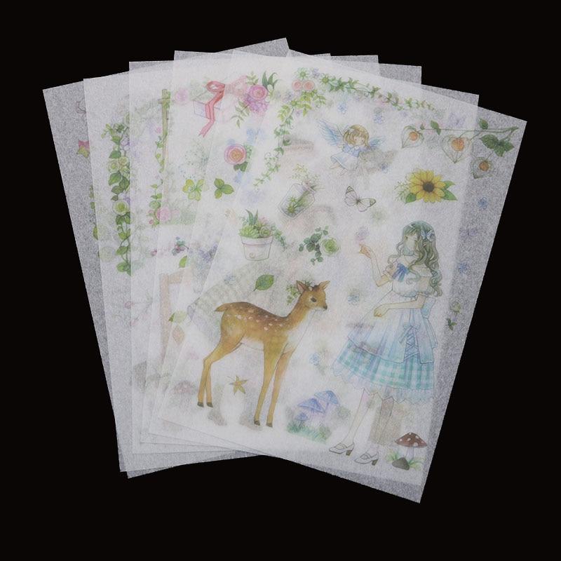 Girl Color Deco Diary Scrapbook DIY 6pc Kawaii Rabbit Stickers Decal Photo Craft