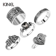 5 PCS Punk Vintage Ring Sets Antique Alloy Gray Stone Midi Finger Rings For Women Turkish Ring Anillos Dropship