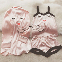 High Quality Women Sexy Eyelash Embroidered Silk Pajamas Spring Summer Braces Shorts 3 Pieces Pajama Sets Sleepwear Nightwear