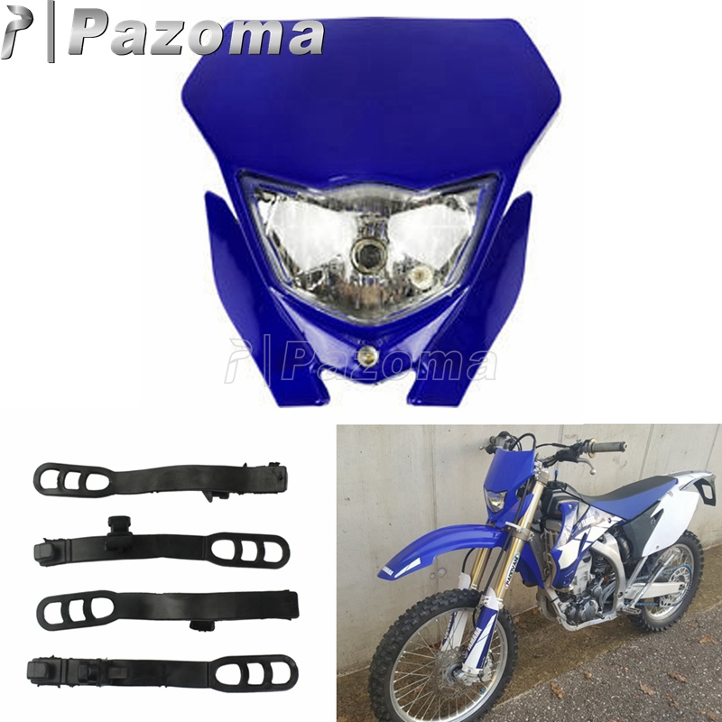 Enduro Motorcycle Dirt Bike LED Blue Headlight Fairing For Yamaha YZ XT WR TTR