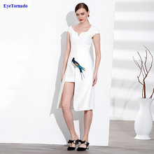 Women dress summer fashion V neck Bird Animal Embroidery dress long asymmetry sexy work office party ball midi dress white 7034(China)