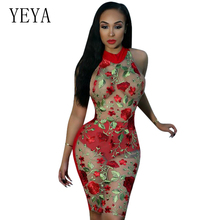 Buy YEYA Women Flower Embroidery Dress Dress Halter Sleeveless Mesh See Midi Dress Sexy Bodycon Party Club Dresses Plus Size