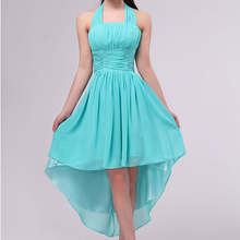 2017 new fashion sexy turquoise chiffon high low elegance prom high low dresses halter short front long back dress under 50 2432