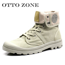 OTTO Men Palladium Style for 2017 High-top Military Ankle Boots Casual Canvas Shoe Comfortable Leather Fur Boots Size 39-45(China)