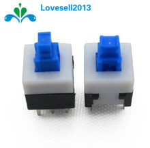 10Pcs/Lot 8X8mm Cap Self-locking Type Square Button Switch Blue 100000 Times Service Life Free Shipping(China)