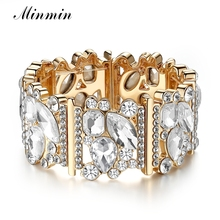 Minmin Shining Big Crystal Bridal Charm Bracelet Women Wide Gold Color Adjustable Wedding Bangle Bracelet New Year Gift MSL357(China)