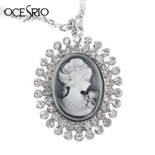 OCESRIO Vintage Long Cameo Necklace for Women Silver Chain Big Pendant Necklace with Crystals Fashion Jewelry Gifts nke-f46