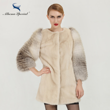 Athena Special Fashion Women Mink Fur Coats With Fox Fur Sleeve 80cm Length Light Color Real Mink Coat From Genuine Mink Fur(China)