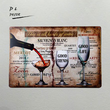 DL- This is ALL KINDS OF WINE Vintage Retro Funny Tin Sign great garage or man cave sign wall pictures for living room(China)