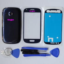Original OEM For Samsung S3mini SIII s3 mini GT-i8190 i8190 Blue white battery door Case Cover Replacement & front glass & tools