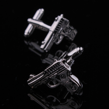 Factory Price Retail Metal Cuff links Gifts for Men Fashion Copper Material Gun Black Pistol Design CuffLinks Free Shipping(China)