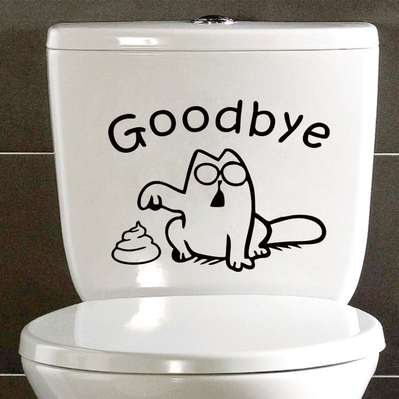 """Goodbye""Simon's Cat Funny Sticker Decal Toilet Bathroom Bath Tile Decoration Accessories Black 4WS-0005(China (Mainland))"