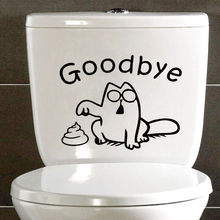 """Goodbye""Simon's Cat Funny Sticker Decal Toilet Bathroom Bath Tile Decoration Accessories Black 4WS-0005(China)"