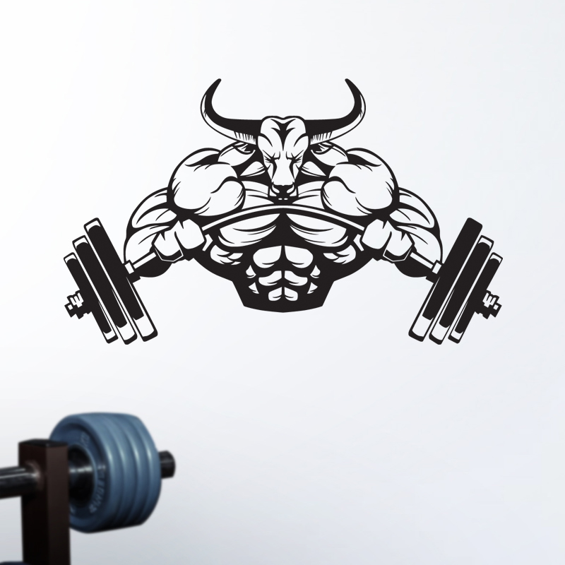 DCTAL Gym Sticker Fitness Decal Bodybuilding Posters Name Muscle Dumbbell Vinyl Wall Parede Decor Gym Sticker