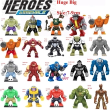Single Sale Large Big Size Marvel Super Heroes Thanos Hulk Venom Ironman Groot Ninja Dogshank Building Blocks Toys for children