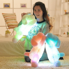 2016 New Hot Sale 50 CM Colorful Luminous teddy dog LED Light Plush Pillow Cushion Kids Toys Stuffed Animal Doll Birthday Gift