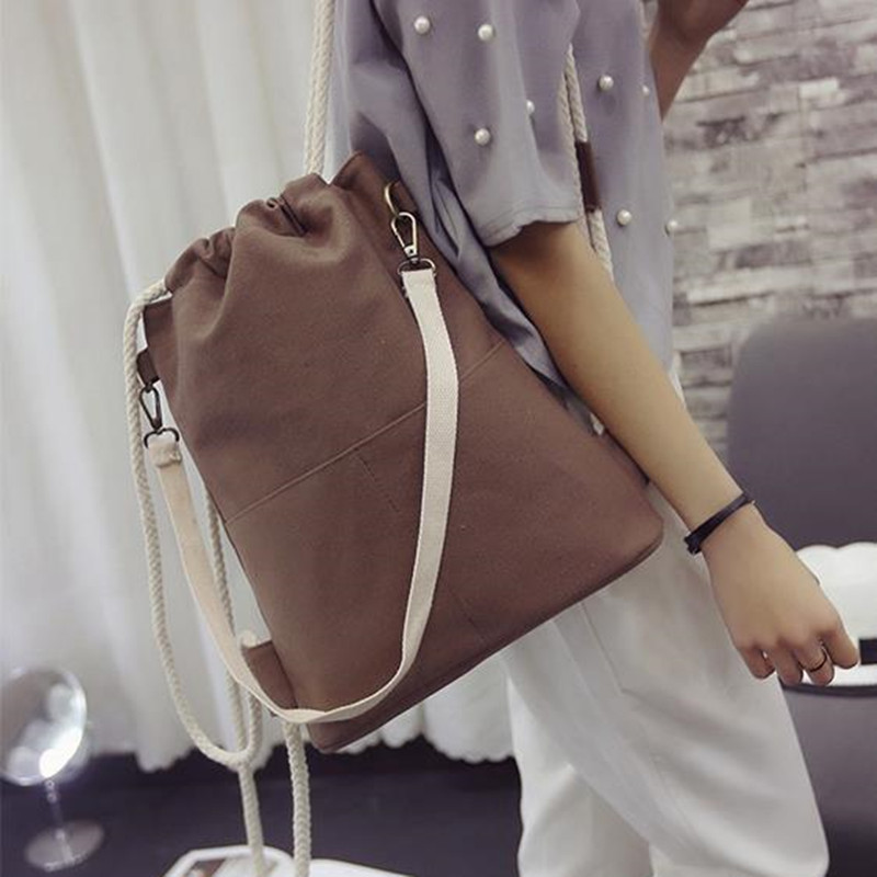 2017 New Fashion Multifunction Canvas Backpack Drawstring Portable bag Casual Simple Backpack HBE74<br><br>Aliexpress