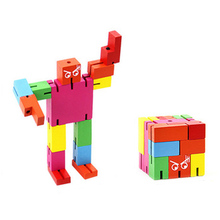 3D Robot Transformer Puzzle Magic Cube Creative DIY Wooden Adult Puzzle Boy Cool Birthday Gifts(China)