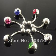 10pcs/lot double gem belly ring, press fit body piercing jewelry, Navel Ring mixed color double gem belly Button rings