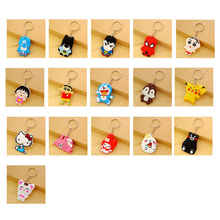 suti cute Anime Cartoon PVC Keychain Cartoon characters KT key chain keyring bag phone straps chain for women kid Student gift