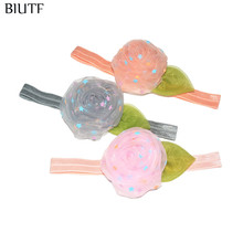 3pcs/lot Elastic Ribbon Headband with Green Leaf Star Dot Mesh Flower Little Girl Cute Hairband U Pick Color FD260