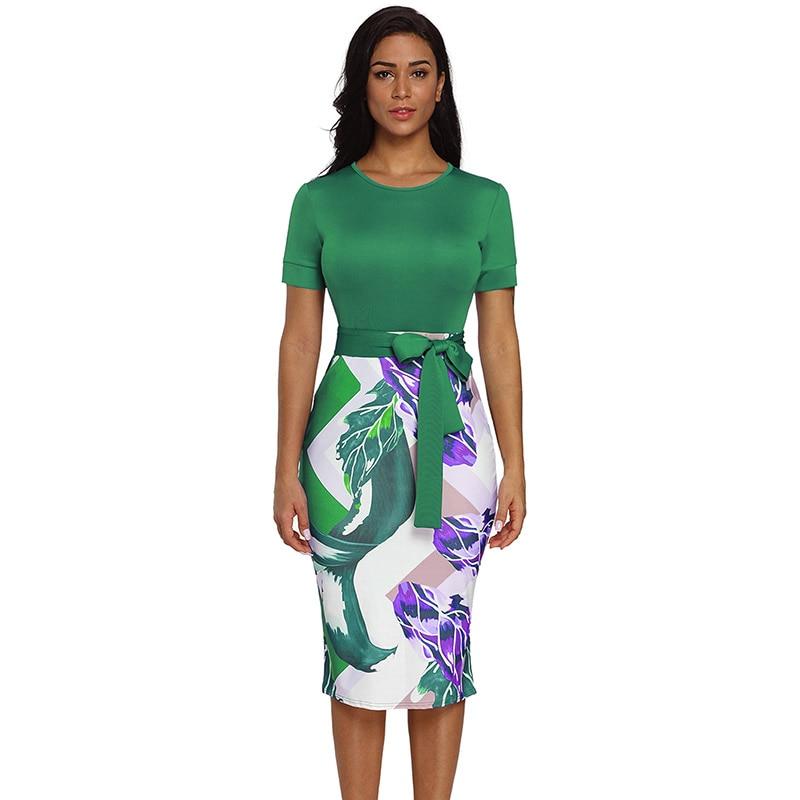 Green-Bowknot-Short-Sleeve-Printed-Sheath-Dress-LC610096-9-1