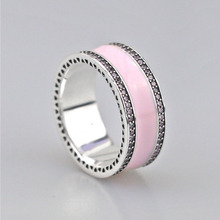 2017 Summer Collection 925 Sterling SilverSoft Pink Hearts of  Band Ring For Women Wedding Gift Compatible Jewelry