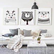 Popigist Nordic Black And White Cartoon Animal Rabbit Deer Bear A4 Canvas Art Picture Baby Bedroom Children Room Wall Decoration