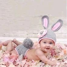 Newborn Photography Props Infant Baby Animals Rabbit Crochet Knitted Costume Hat+Pants 2pcs Outfit Baby Clothes Prop Accessories(China)