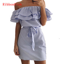 Off Shoulder Strapless Striped Ruffles Dress Women Summer Sundresses Beach Casual Shirt Short Mini Party Dresses DF0867(China)