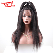 Full End Lace Front Human Hair Wigs For Black Women Italian Yaki Straight Pre Plucked Lace Front Wig Remy Hair Sunny Queen(China)